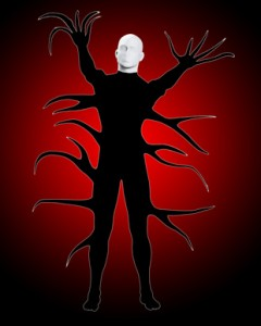 The frightening figure that is the Slenderman from creepypasta fame.